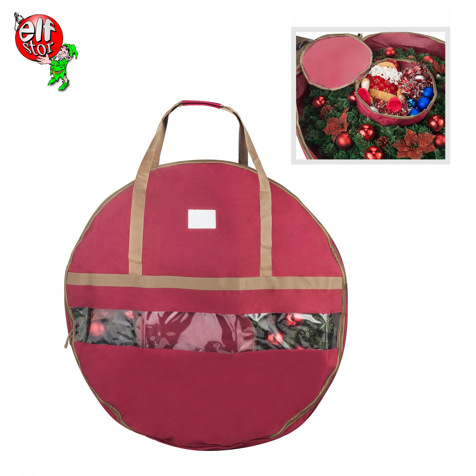 Elf Stor 83-DT5167 Ultimate Red Holiday Christmas Storage Bag for 48'' Inch Wreaths by Elf Stor