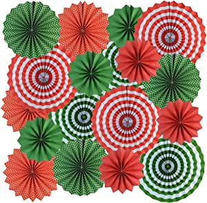mifengda 18Pc Party Red and Green Paper Fans Merry Christmas Hanging Paper Fans Decorations, Round Folding Party Paper Fans Bulk for Christmas Decorations Winter Holiday Party Wedding Birthday
