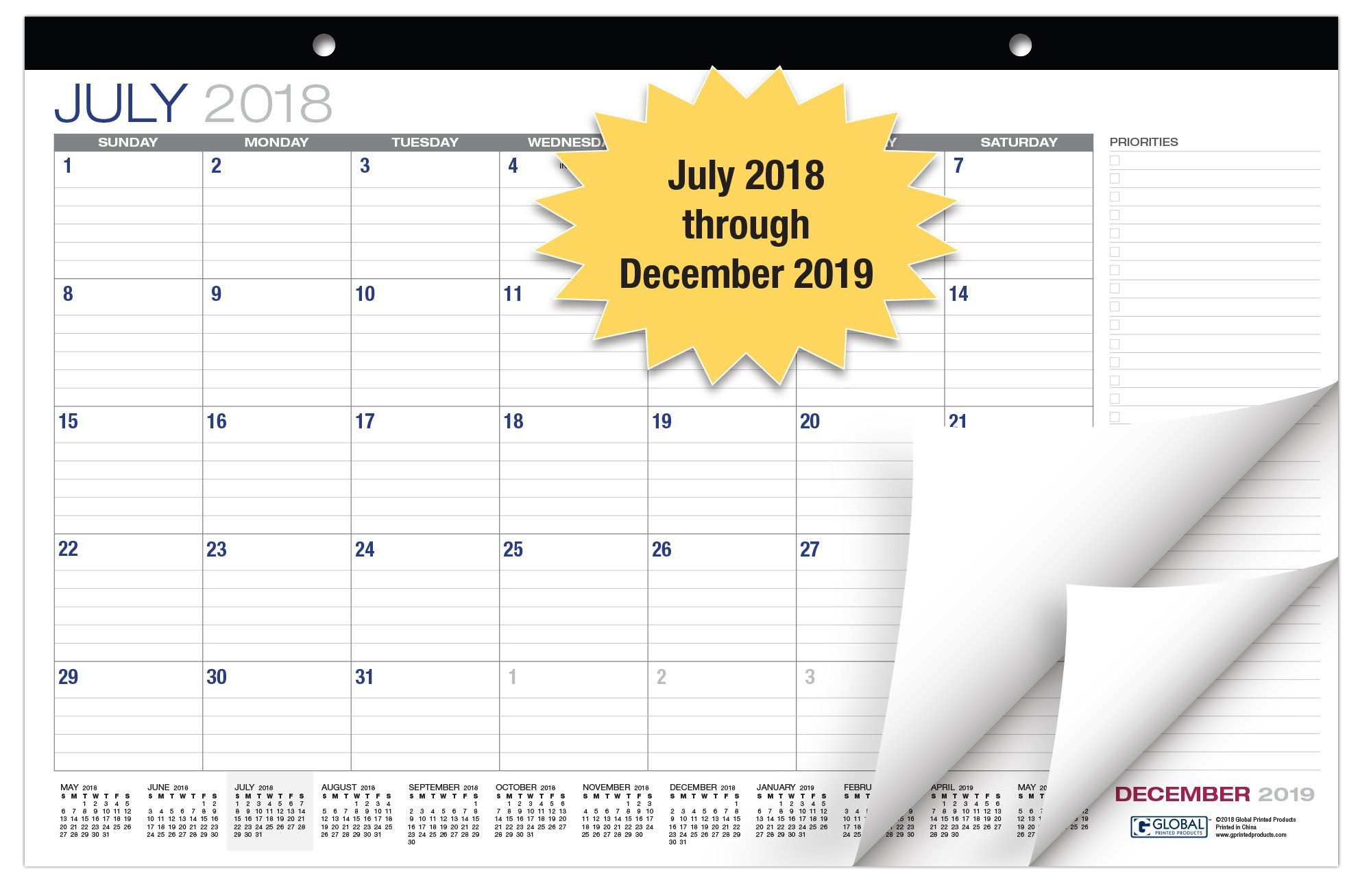 Desk Calendar 2018-2019: 11''x17'' - (Runs from July 2018 Through December 2019) (1 Pack)