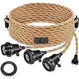 Vintage Triple Light Sockets Pendant Hanging Light Cord Kit with On/Off, DORESshop 22FT Plug-in Light Fixture E26 Lamp…