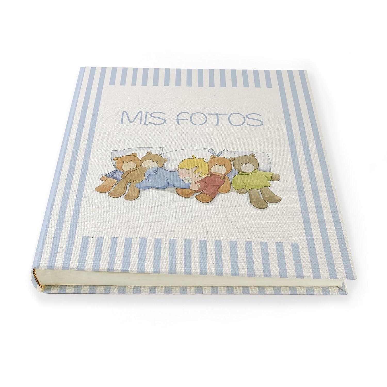 Album de Fotos Niño dormido de 30 hojas con greca de rayas azules. Impreso en lienzo. Cuadriman