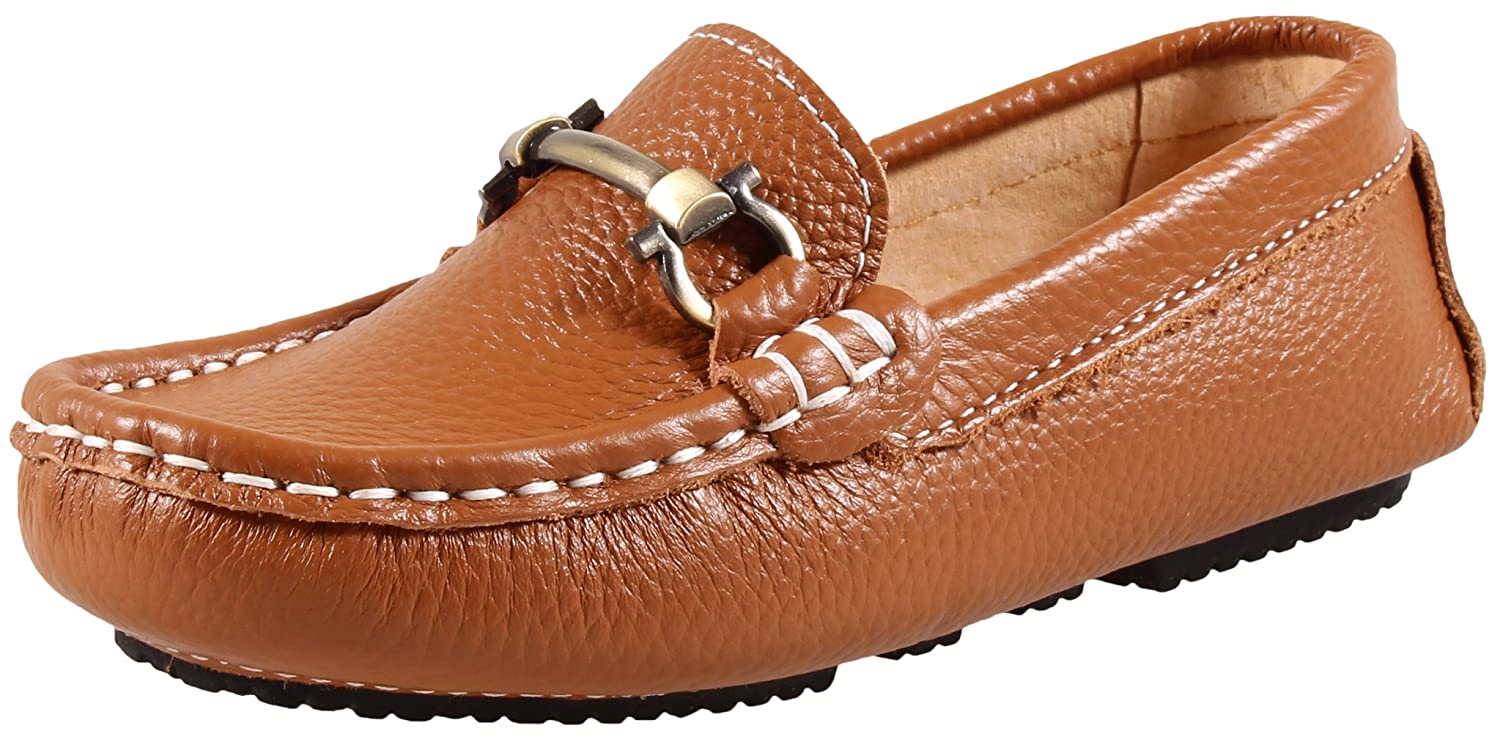 SKOEX Boy's Leather Loafers Slip On Boat Shoes A1096