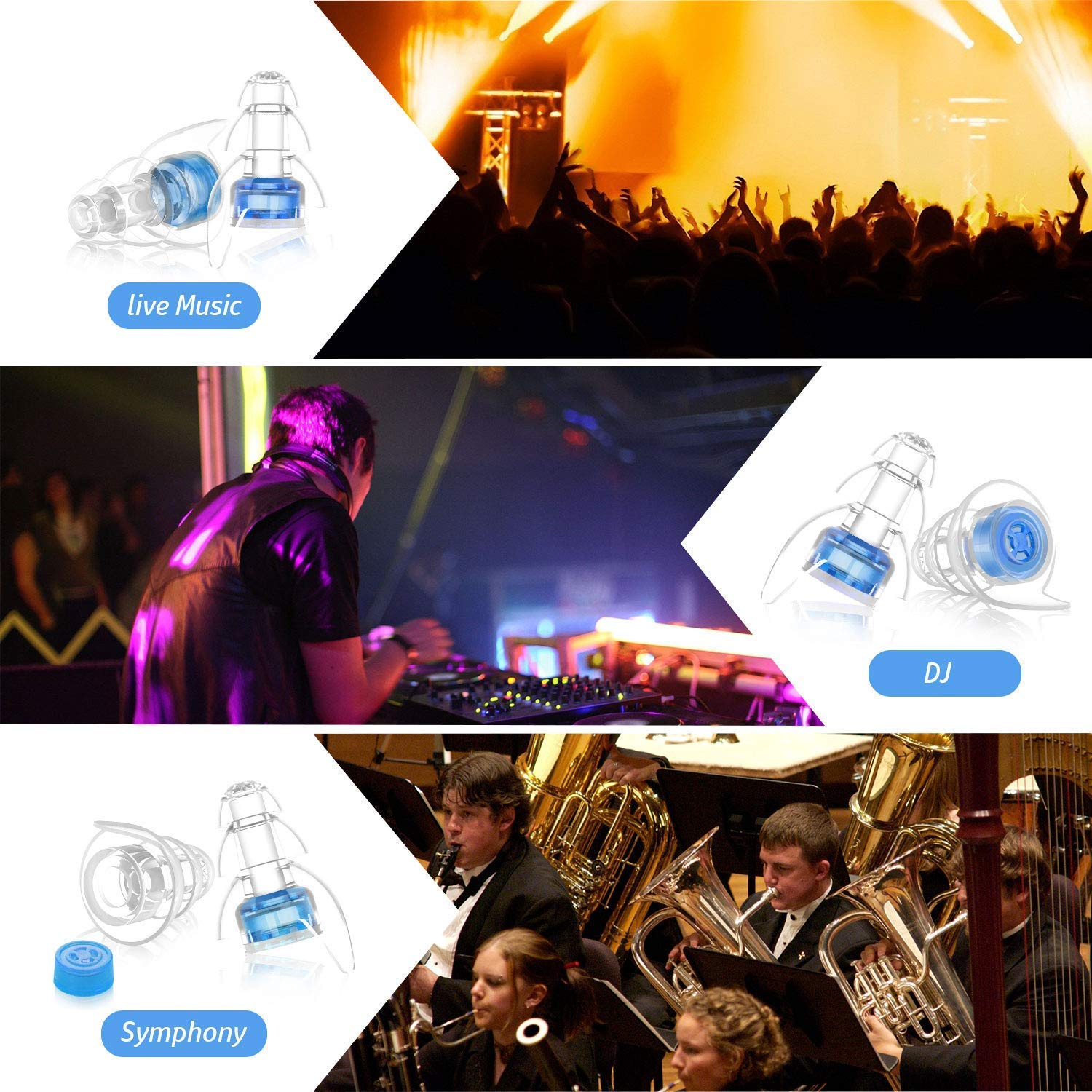 High Fidelity Soft Ear Plugs Hearing Protection Ear Plugs Silicone Noise Cancelling Ear Plugs with Aluminium Box for Live Music Concerts Nightclub Musicians DJ Drumming