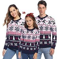 Aibrou Jerséis de Navidad Familia Manga Larga Jersey Navideño para Niño Niña Suéter para Mujer Hombre Invierno Pullover…