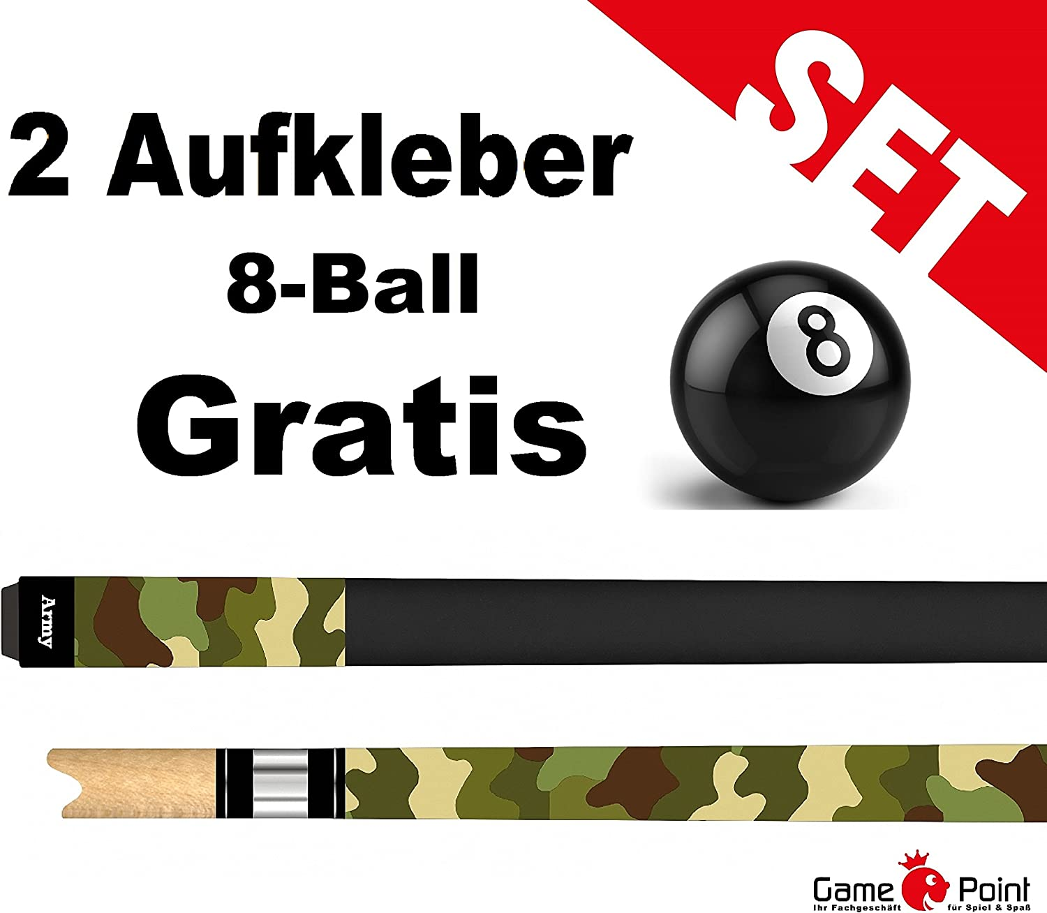 Billar Pool Army en Military de Look + 2 pegatinas de 8 Ball ...
