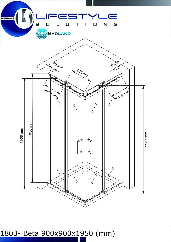 Glaszentrum Hagen Verre tremp/é Cabine de douche Douche Coin-Forme 8mm Douche Syst/ème coulissant Anti-Calcaire Rev/êtement Paroi de douche Artemis 80x80x195cm