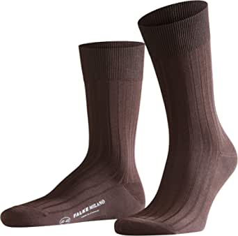 FALKE Milano sokken voor heren, Fil D'Écosse katoen, zwart, grijs, meer kleuren, dunne lichte kalfsokken, effen geribbeld patroon, ideaal voor de zomer, casual looks of werk, 1 paar