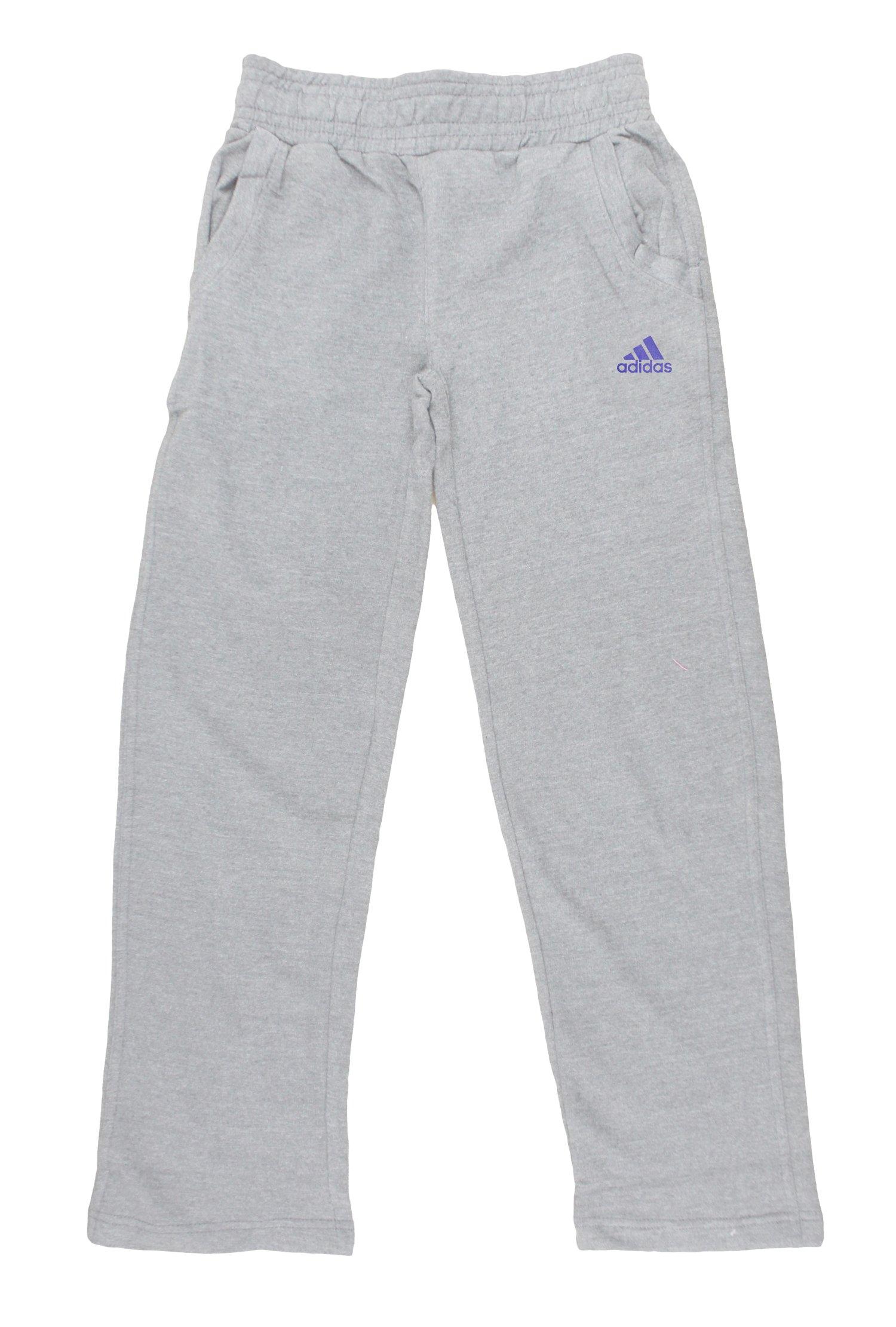 Adidas Big Girls Cotton Fleece Pants (Large (14), Medium Grey)