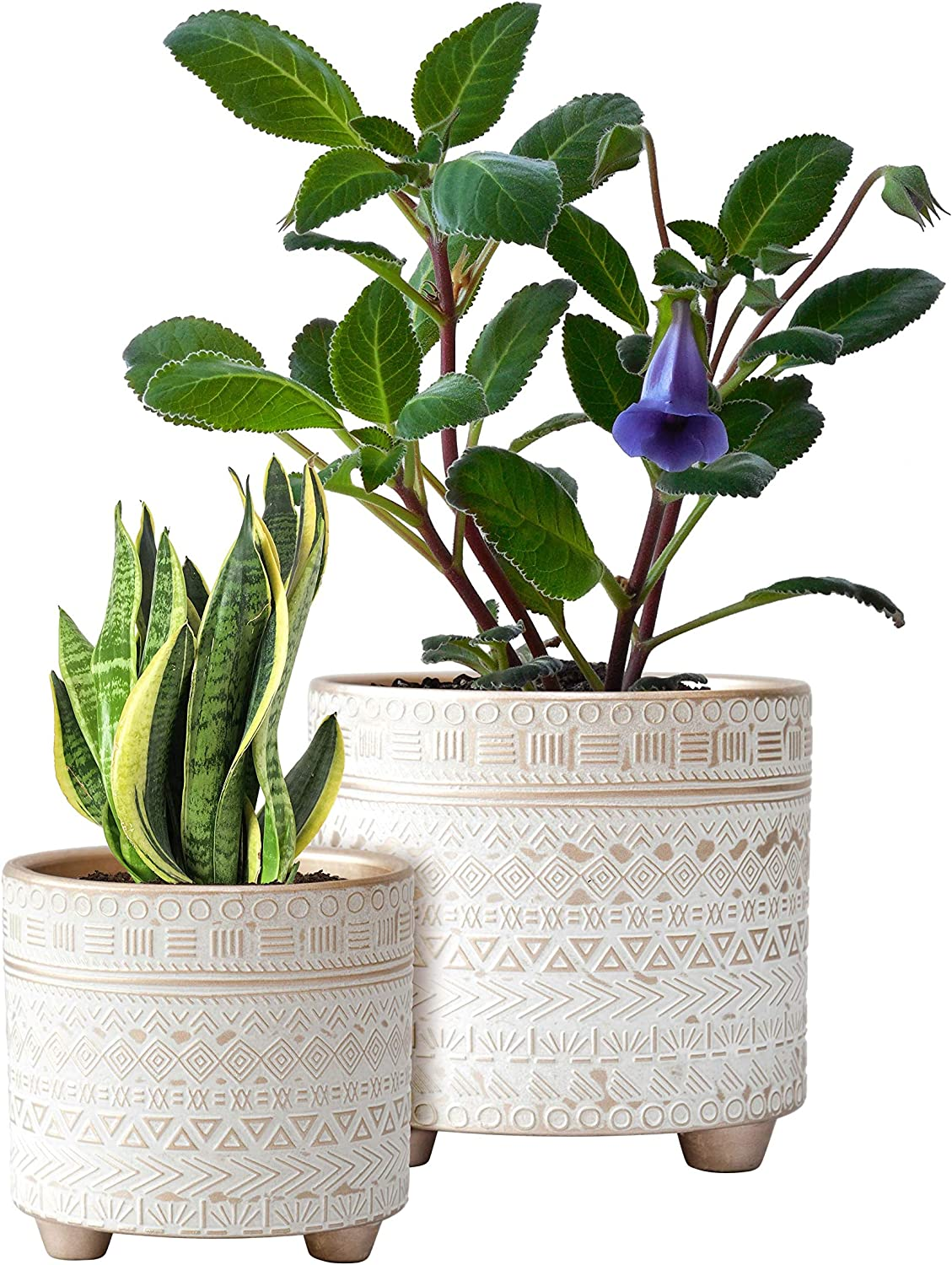 Set of 2 Planter Pots, 4 Inch & 6 Inch, Geometric Design Ceramic Plants Pot with Drainage Hole, Gold/White