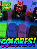 Learn colors in Spanish with toy monster trucks - Aprende los colores con camiones monstruos