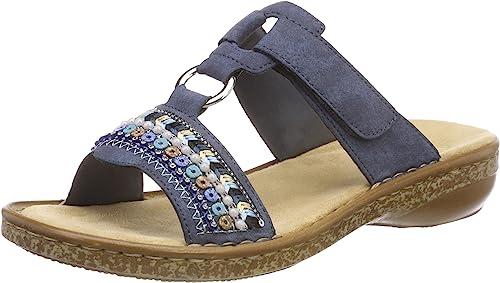 Rieker Women's White Accent Detailed Slip On Slider Sandal
