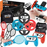 Orzly Party Pack Accessories Bundle Designed for Nintendo Switch and New 2021 OLED Console Games with Controller Grips & Whee