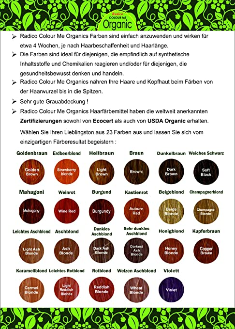 Radico Colour Me Organic Pflanzenhaarfarbe sehr dunkles Aschblond ...