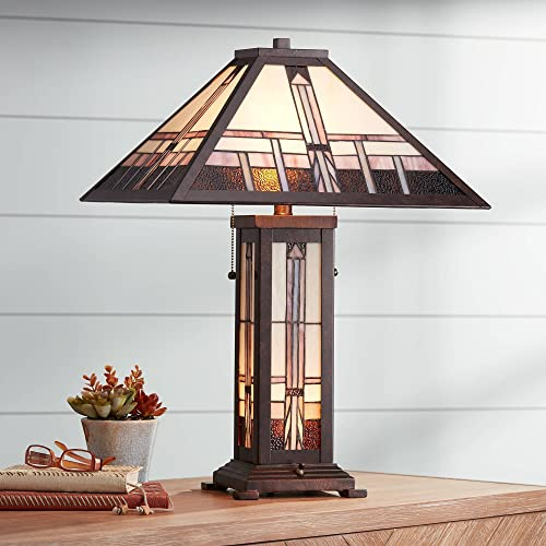 Alfred Art Deco Table Lamp with Nightlight Bronze Antique Stained Glass Shade for Living Room Family Bedroom Nightstand – Robert Louis Tiffany