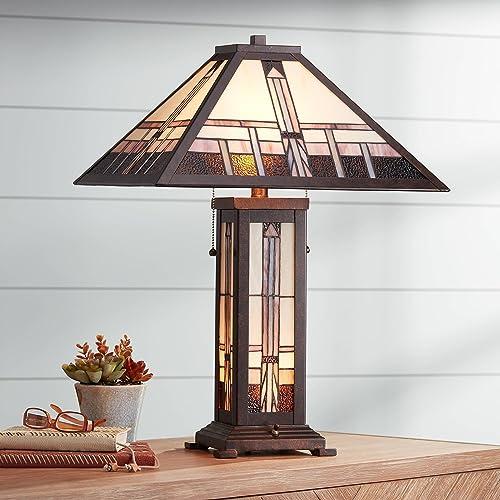 Quoizel TF1433T Pearson Tiffany Table Lamp Lighting, 2-Light, 150 Watts, Black 23 H x 16 W
