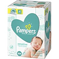Baby Wipes, Pampers Sensitive Water Based Baby Diaper Wipes, Hypoallergenic and Unscented, 9X Pop-Top Packs, 504 Count Total Wipes (Packaging May Vary)