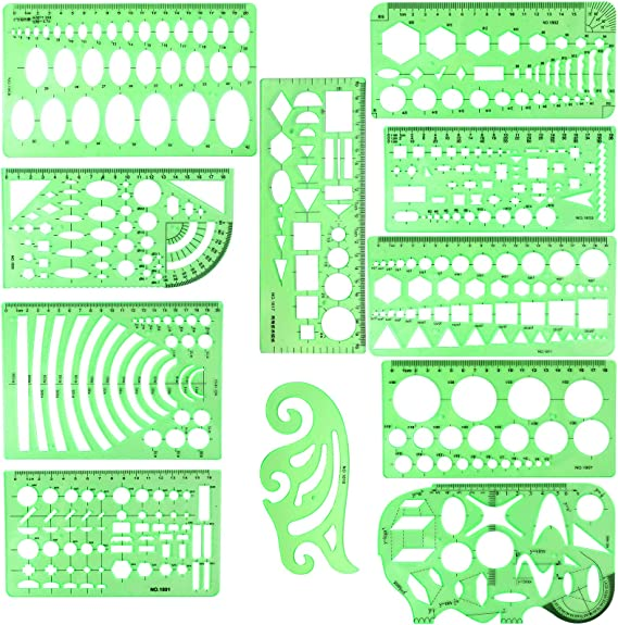 Studying BetyBedy Plastic Clear Green Ruler Shapes with a Zipper Bags for Architecture Drafting Stencils Measuring Tools 11PCS Geometric Drawings Templates Designing and Building Office