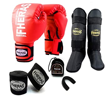 a3237712c Kit Boxe Muay Thai - Luva + Bandagem + Bucal + Caneleira - Vermelho - Fheras