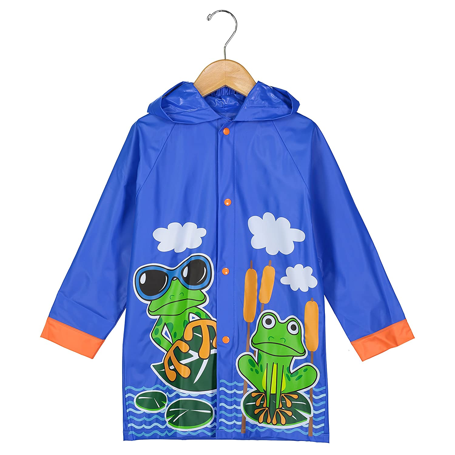 Puddle Play Little Boys and Girls Rain Slicker Outwear Hooded Fun Colors and Designs Toddler and Little Kid