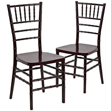 Flash Furniture 2 Pk. HERCULES PREMIUM Series Mahogany Resin Stacking Chiavari  Chair