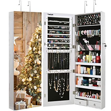 TomCare Jewelry Cabinet Jewelry Armoire Wall Door Mounted Jewelry Organizer  Lockable With Frameless Mirror 2 Drawers