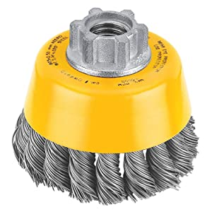 Dewalt DW4910 10 Pack 3-Inch by 5/8-Inch-11 Knotted Cup Brush/Carbon Steel .020-Inch