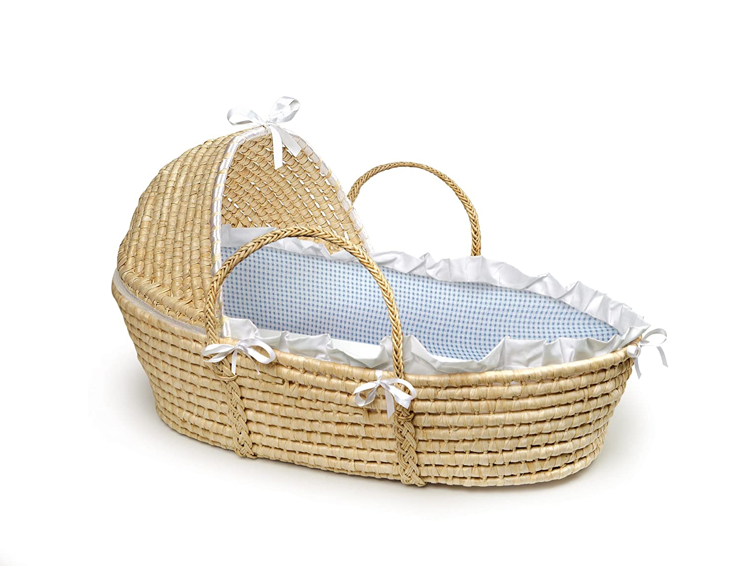 Badger Basket Natural Moses Basket with Hood, Sage Gingham Bedding Badger Basket Company 00874