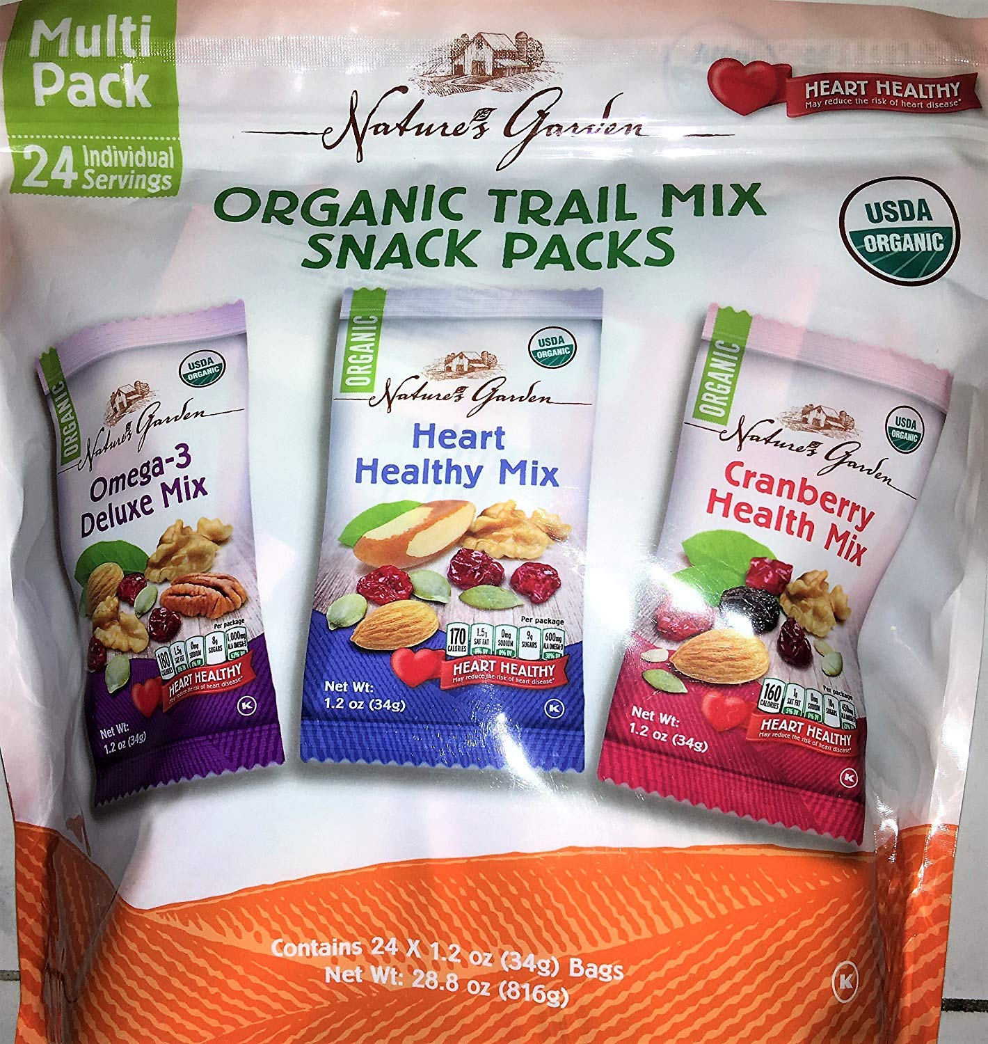 Nature's Garden Organic Trail Mix Snack Packs, Multi Pack 1.2 oz - Pack of 24 (Total 28.8 oz) by Nature's Garden (Image #1)
