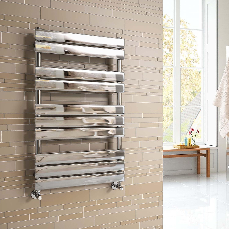 iBathUK 800 x 600 mm Chrome Designer Flat Panel Heated Towel Rail Radiator - All Sizes