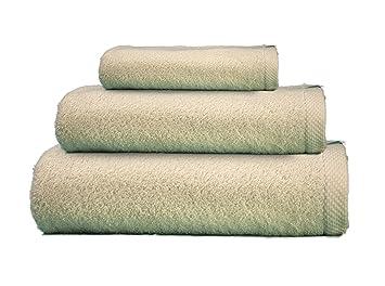 ADP Home - Juego de Toallas 550 Grms 3 Piezas (Toalla Ducha/Baño, Lavabo/ Mano, Tocador) 100% Algodón Peinado - Color: Crema: Amazon.es: Hogar