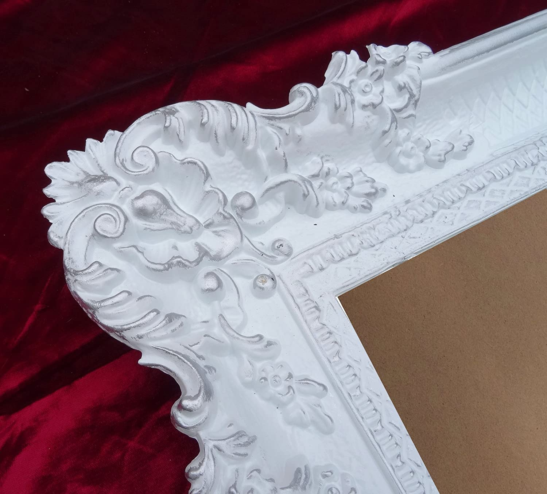 Bilderrahmen Rahmen Weiß - Silber Dualcolor 96x57 cm Hochzeitsrahmen Fotorahmen Antik Barock Rokoko Repro Shabby