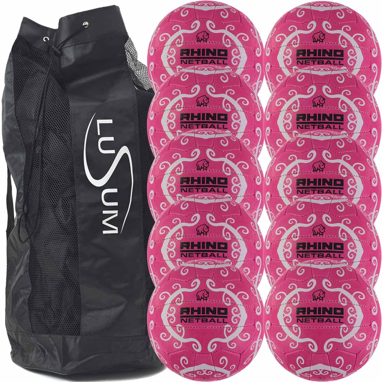 Big Game Hunters 10 x Rhino Hurricane Training Netballs with a Breathable Ball Bag BGH