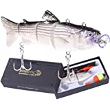 """Watalure Robotic Swimming Fishing Electric Lures 5.12"""" Usb Rechargeable Led Light 4-Segement Wobbler Multi Jointed…"""