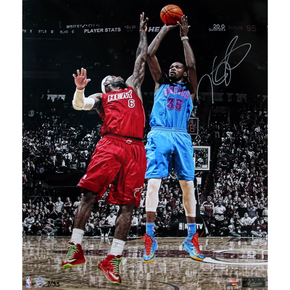 NBA Oklahoma City Thunder Kevin Durant Signed Vs. LeBron James Vertical Photograph, 6 x 20-Inch