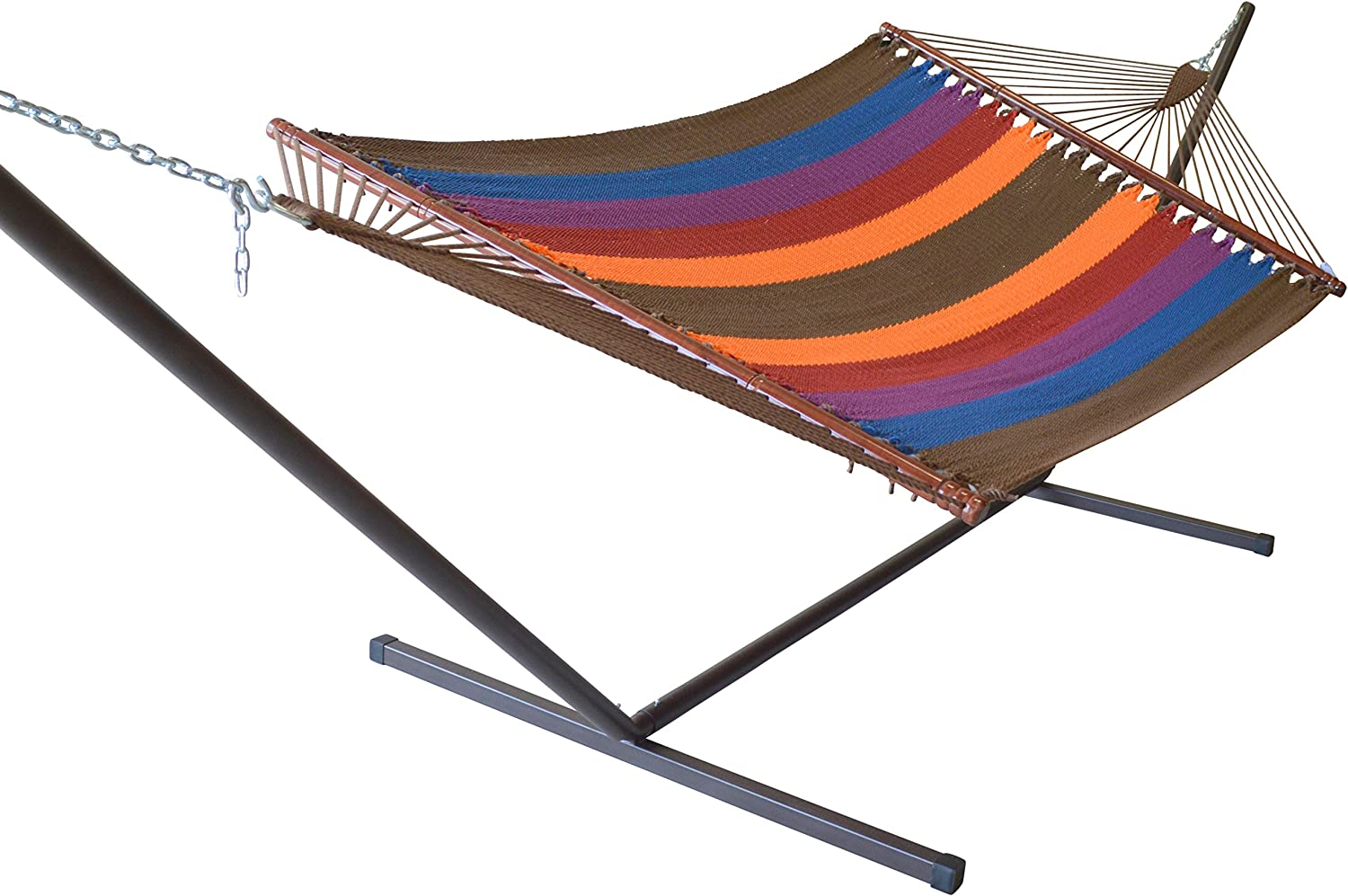 Caribbean Hammocks Jumbo Hammock and 15 ft Tribeam Stand - Multi Color Dark Blue