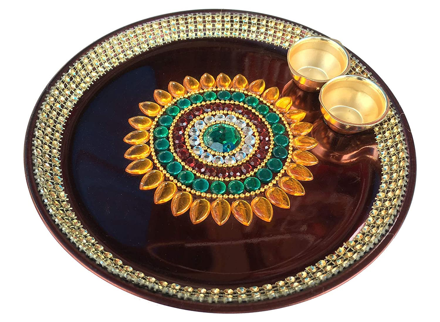 Decoration Craft New Design Stainless Steel Maroon Puja Thali Small