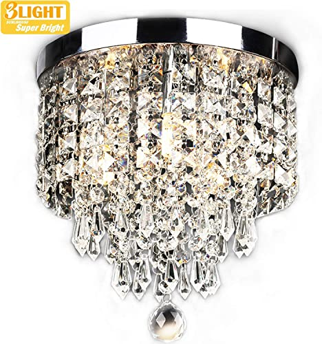 SUNLIHOUSE Modern Crystal Chandelier Ball Fixture Pendant Ceiling Lamp H11.7 X W9.8 , 3 Light,Mini Modern Chandelier Lighting Fixture for Bedroom, Hallway, Bathroom, Kitchen, Bar