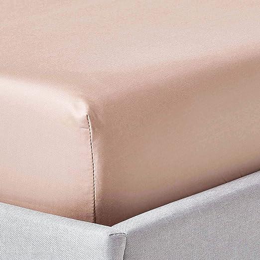 HOMESCAPES Sábana Bajera Ajustable 100% algodón Egipcio 1000 Hilos Color Marrón Claro 180 x 200 cm: Amazon.es: Hogar