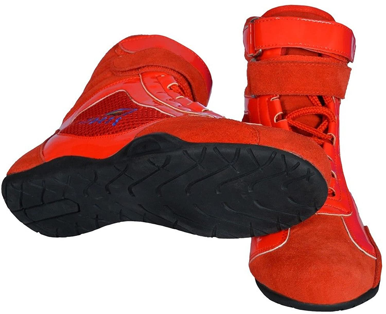 Red, UK 4//EU 37 Anti Slip Oil /& Fuel Resistant Rubber Sole Boots PM Sports Kids Junior Karting Race Rally Boots with Shiny Artificial Leather /& Suede Mix