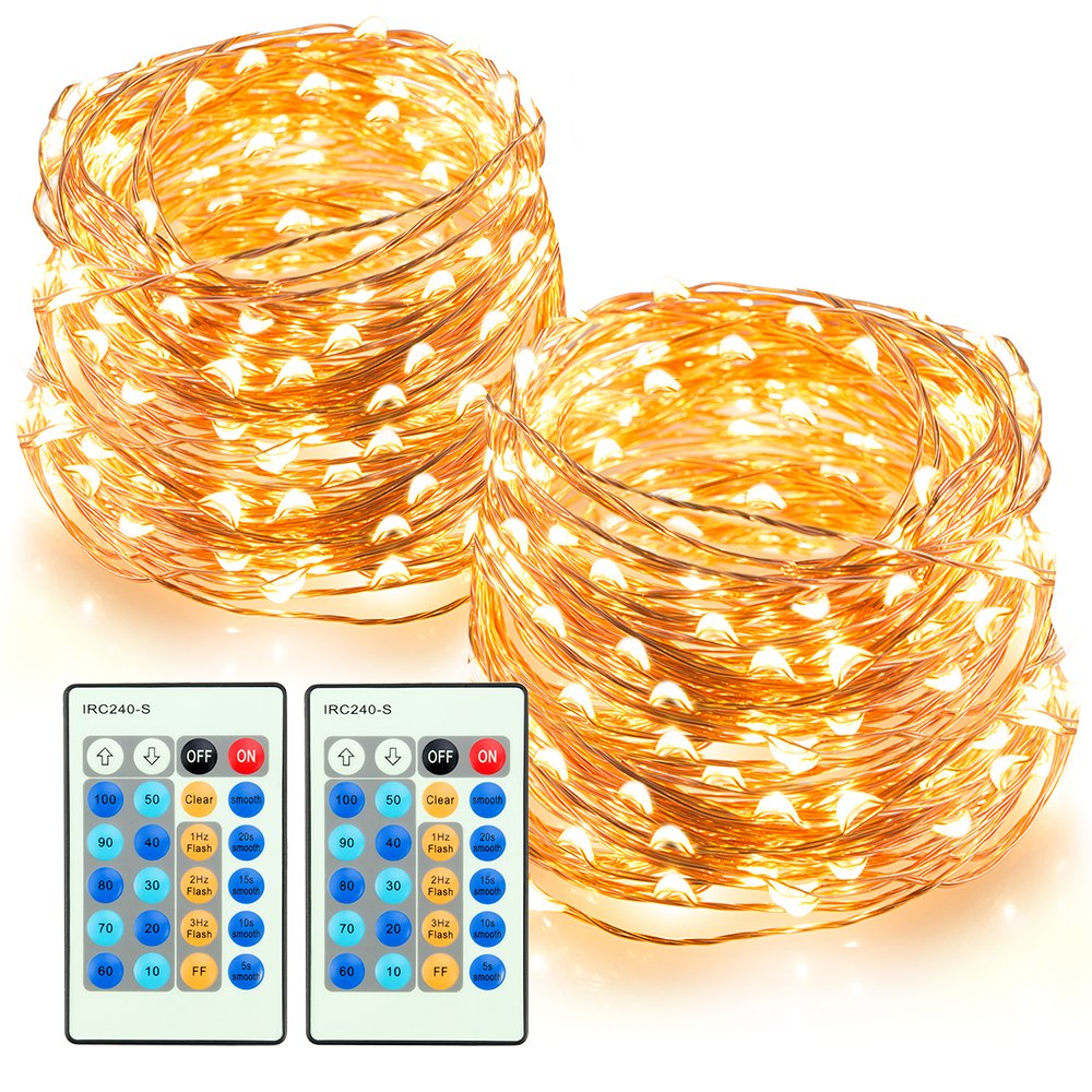 TaoTronics LED String Lights 66ft 200 LEDs Dimmable Festival Decorative Lights for Seasonal Holiday, Complete Waterproof, UL Listed(Copper Wire Lights, Warm White)-2 Pack by TaoTronics
