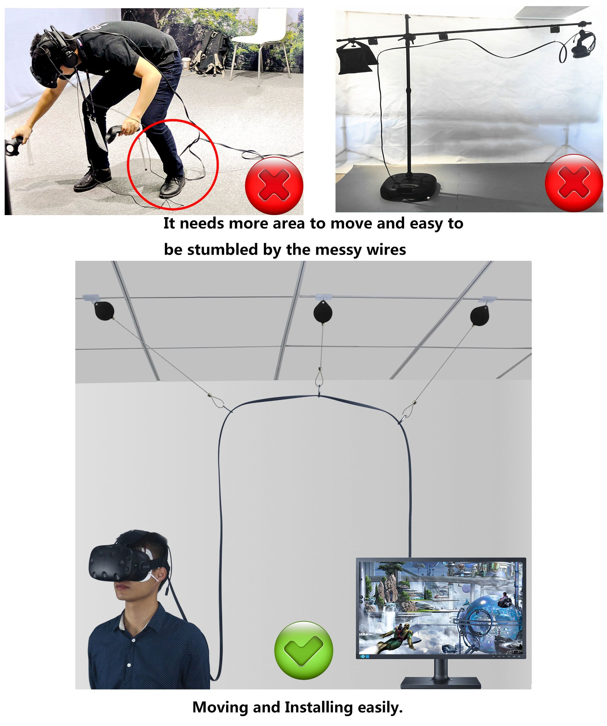 6 Packs Retractable Cable Management for HTC VIVE NEW Version System for HTC VIVE Virtual Reality Headset- MDW Adhesive Drill Free by MDW (Image #3)