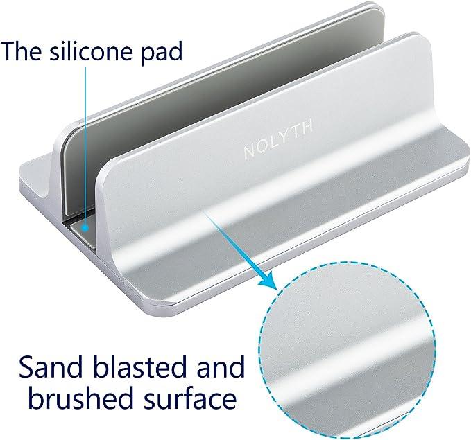 NOLYTH Vertical Laptop Stand Holder Desktop Stand with Adjustable Dock Grey