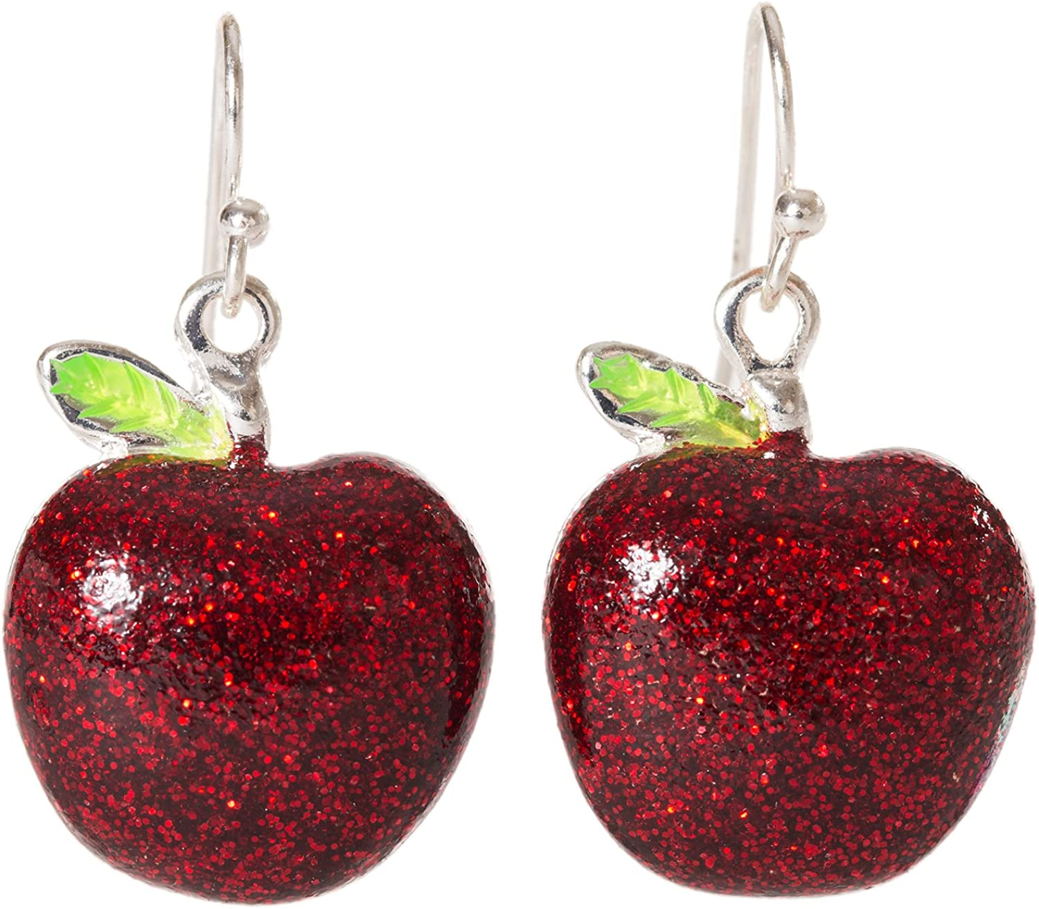 Artisan Owl - Red Apple Sparkling Enamel Polished Silver Tone Fruit Dangle Earrings