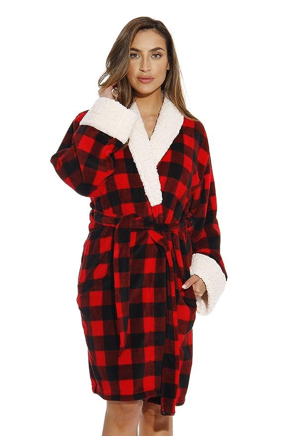 835533d070 Just Love Sherpa Trim Plush Robe Women at Amazon Women s Clothing store