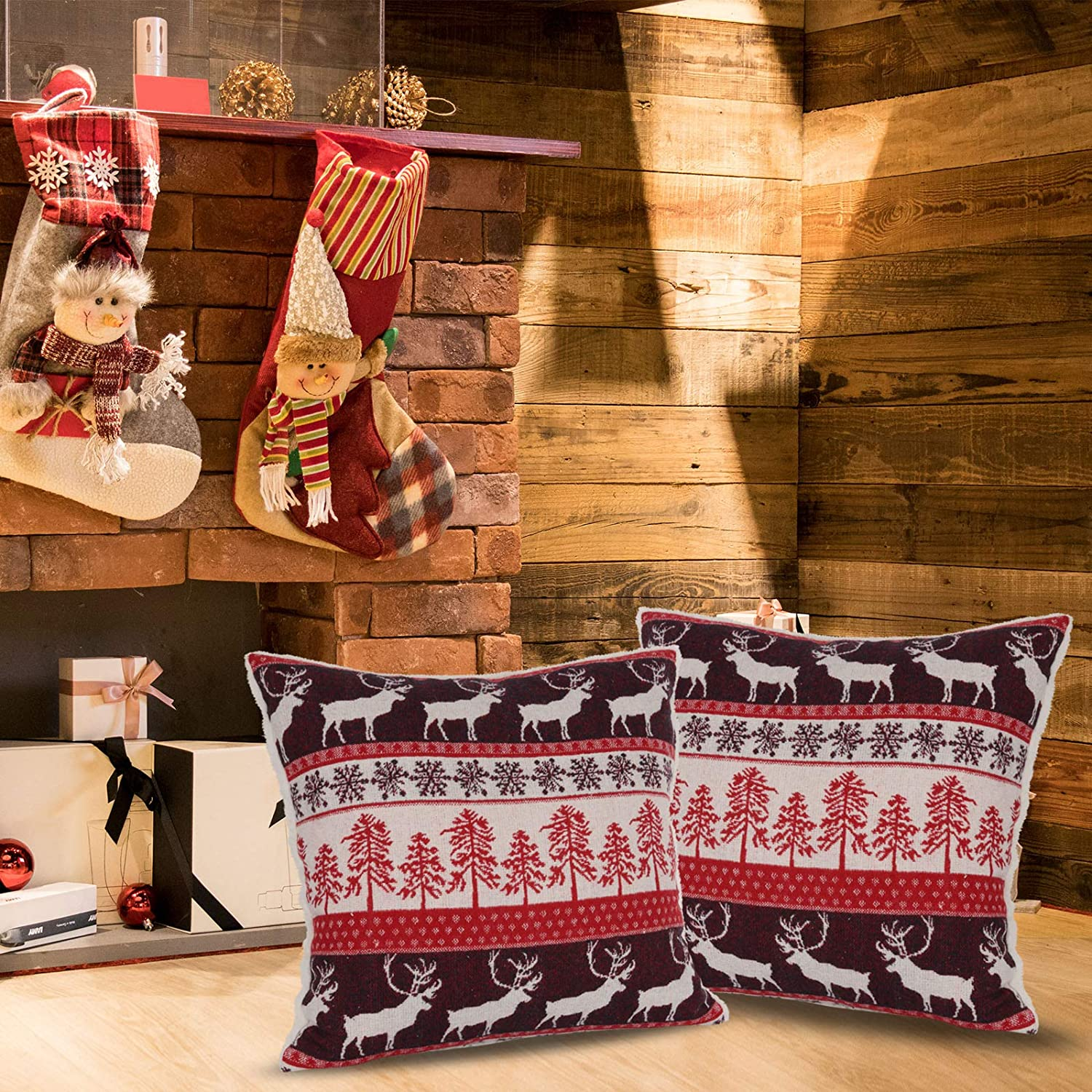 oTemrcloc 1PC Christmas Pillow Xmas Throw Pillow 18''x18'' Winter Holiday Decorative Cushion Accent Pillow with Snowflake Xmas Tree&Reindeer for Home Sofa Couch Bed Chairs
