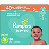 Diapers Size 5 - Pampers Baby Dry Disposable Baby Diapers, 186 Count, Ultra Value Pack (Packaging May Vary)