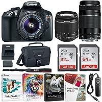 Canon EOS Rebel T6 Digital Camera: 18 Megapixel 1080p HD Video DSLR Bundle with 18-55mm &75-300mm Lenses 96GB Flash Filter Kit & Bag - Professional Vlogging Sports & Action Cameras