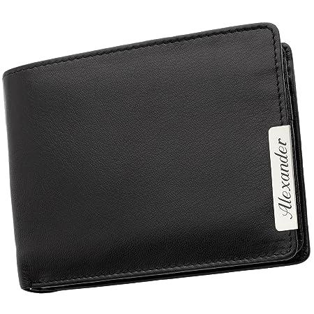 c23c5db68440a Cadenis Herren Geldbeutel Geldbörse Leder mit Laser-Gravur aus Schafnappa schwarz  Querformat 12 x 9
