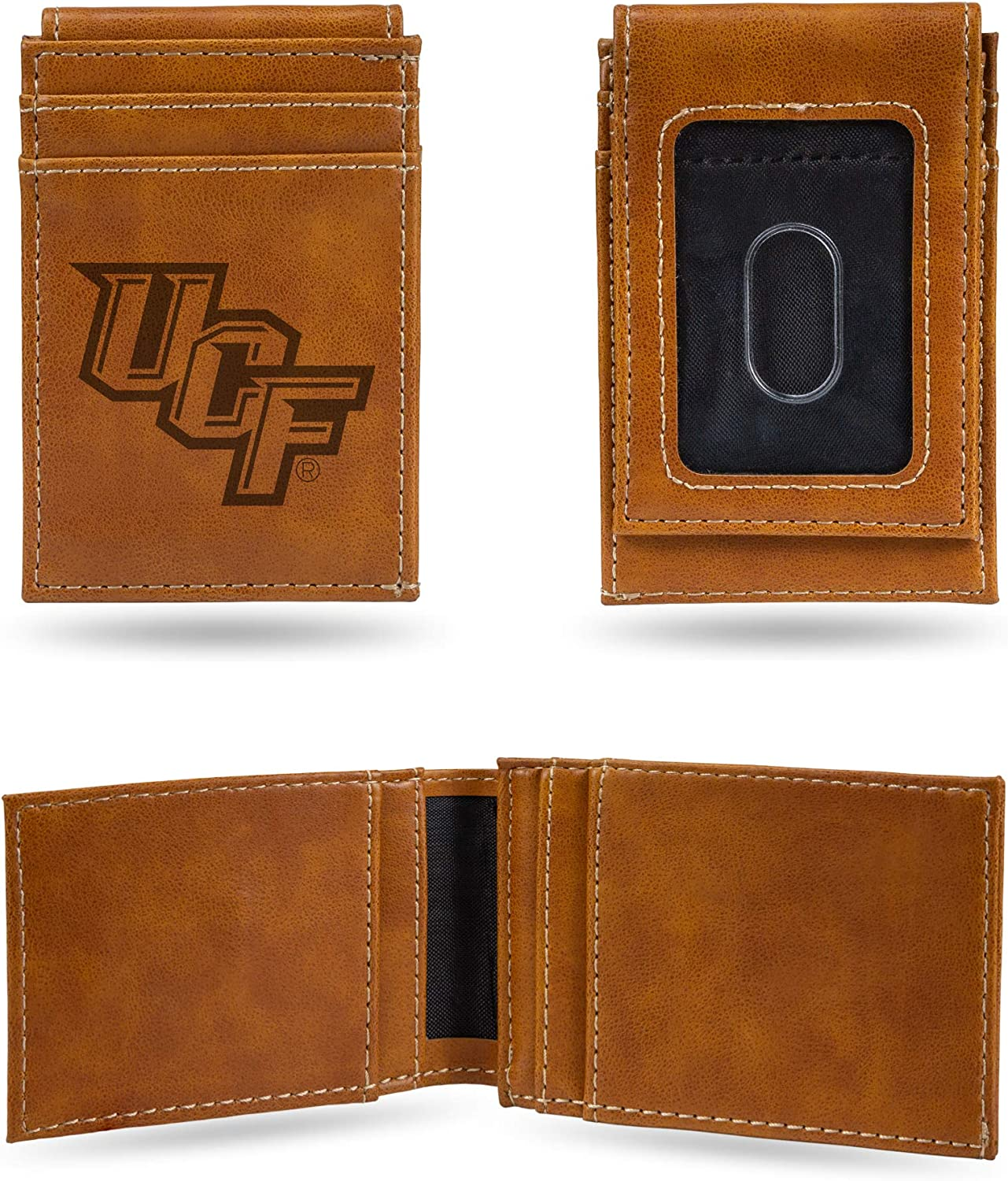 Rico Industries NCAA Laser Engraved Front Pocket Wallet Brown