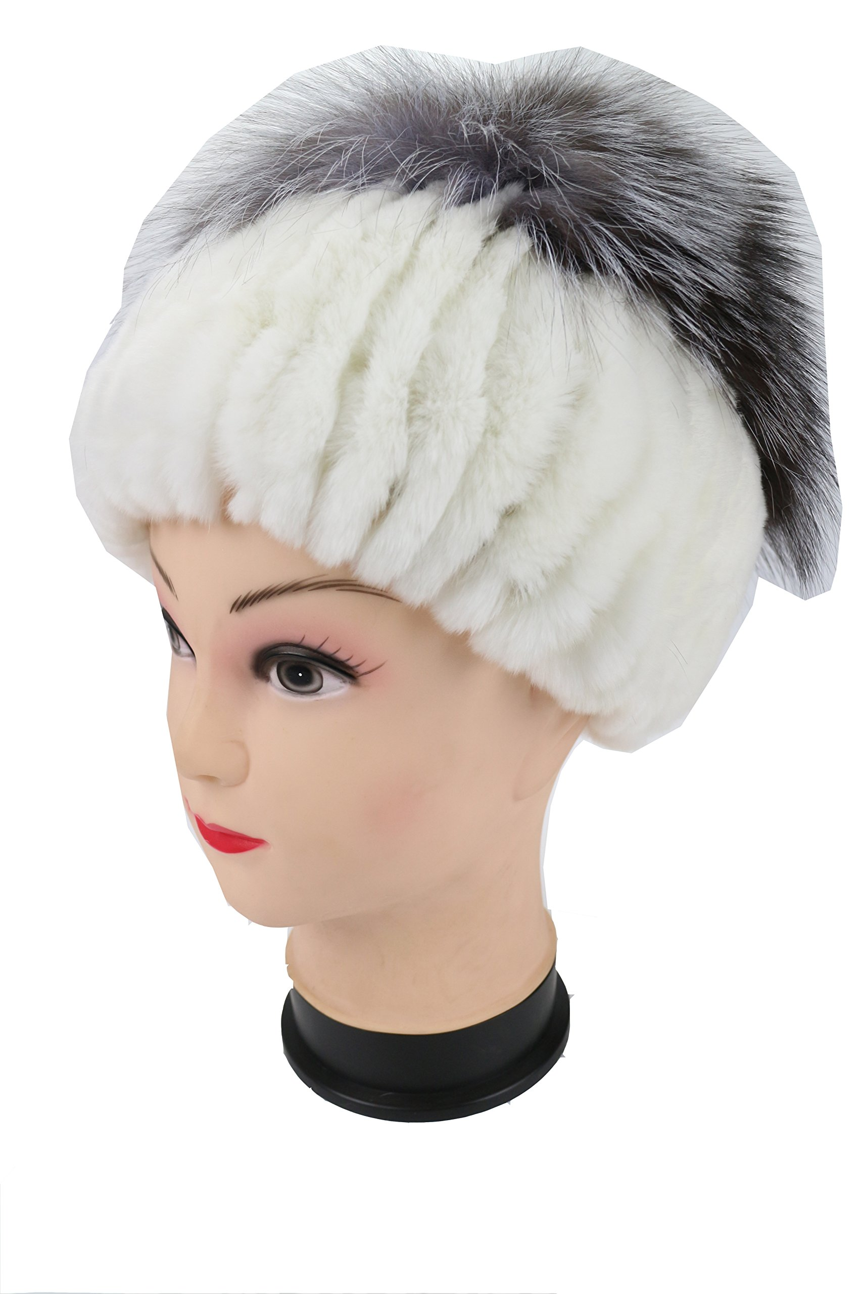 Ysting Knit Rex Rabbit Fur Beanie Hat Women's Cap with Silver Fox Fur Top Hat (B)